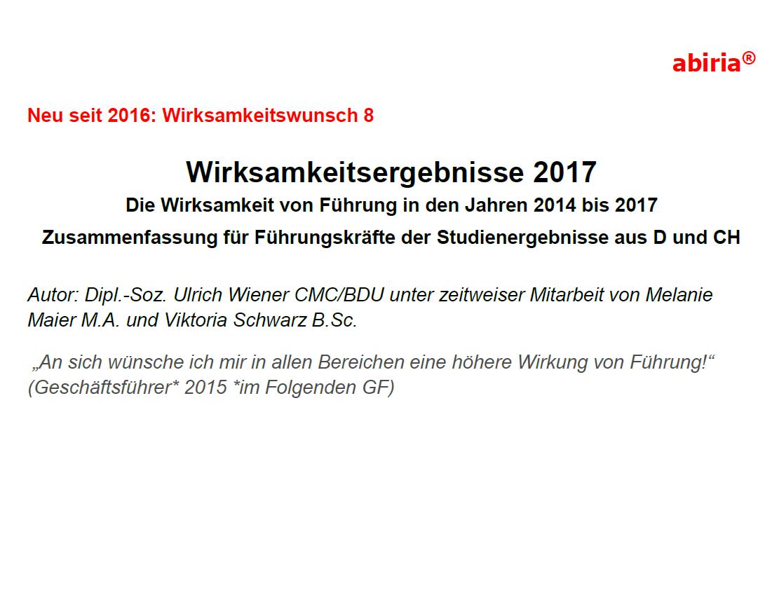 Wirksamkeitsergebnisse 2017 Deutschland